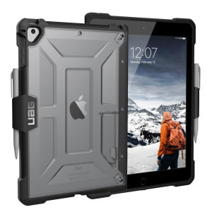 The Urban Armour Gear Plasma semi-transparent tough case in ice clear and black for the iPad 9.7 2018 features a protective case with a brushed metal UAG logo insert for an amazing rugged and stylish design. Including an Apple pencil holder and kickstand.