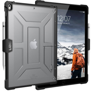 The Urban Armour Gear Plasma semi-transparent tough case in ice clear & black for the iPad Pro 12.9 features a protective case with a brushed metal UAG logo insert for an amazing rugged and stylish design. Including an integrated Apple pencil holder.