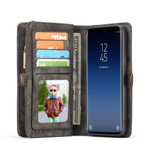 This luxury wallet pouch case for Samsung Galaxy S9 in black combines exceptional utility with a professional aesthetic to create a case that's perfect for everyday use. Complete with detachable inner frame for travelling light, as well as a zip pouch.