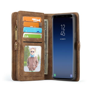 This luxury wallet pouch case for Samsung Galaxy S9 in tan combines exceptional utility with a professional aesthetic to create a case that's perfect for everyday use. Complete with detachable inner frame for travelling light, as well as a zip pouch.