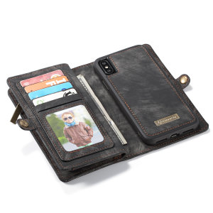 This luxury wallet pouch case for the iPhone X in black combines exceptional utility with a professional aesthetic to create a case that's perfect for everyday use. Complete with detachable inner frame for travelling light, as well as a zip pouch.