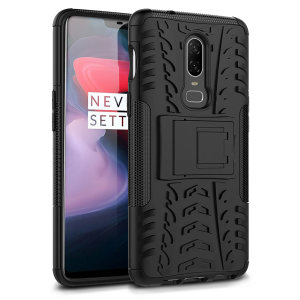 Protect your OnePlus 6 from bumps and scrapes with this black ArmourDillo case from Olixar. Comprised of an inner TPU case and an outer impact-resistant exoskeleton, with a built-in viewing stand.