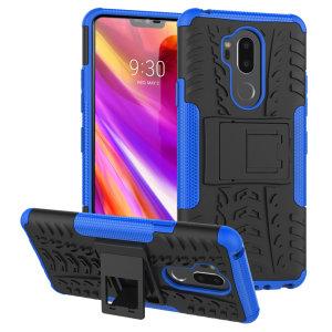 Protégez votre LG G7 des chocs et des éraflures grâce à cette coque Olixar ArmourDillo en coloris bleu. Cette coque est composée d'un boîtier interne en TPU et d'un exosquelette externe résistant aux impacts. Elle comprend par ailleurs un support de visualisation intégré.