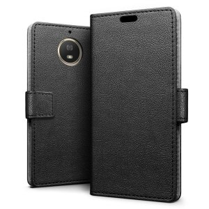 This black leather style wallet case offers perfect protection for your Motorola Moto G5S. Featuring a premium stitched finish and internal slots for your cards, cash and documents.