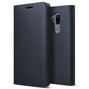 Protect your LG G7 ThinQ with this precisely designed flip case in navy from VRS Design. Made with genuine premium leather, the VRS Design Diary oozes style and attractiveness.