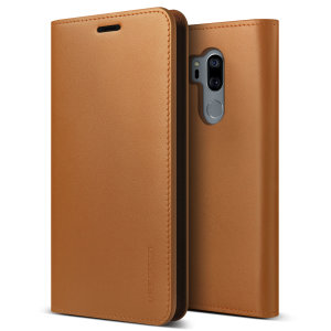 Protect your LG G7 ThinQ with this precisely designed flip case in brown from VRS Design. Made with genuine premium leather, the VRS Design Diary oozes style and attractiveness.
