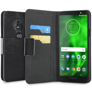 Protect your Motorola Moto G6 Play with this durable and stylish black leather-style wallet case by Olixar. What's more, this case transforms into a handy stand to view media.