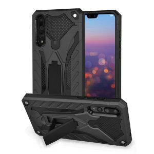 Fully protect your Huawei P20 Pro from scratches and scrapes with the Raptor tough stand case in tactical black by Olixar. With a sleek military design, rugged protection and included kick stand, your P20 Pro will stay safe while looking formidable.