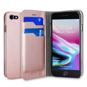 Protect your iPhone 7 with this durable and stylish rose gold leather-style wallet case from Olixar, featuring two card slots. What's more, this case transforms into a handy stand to view media.