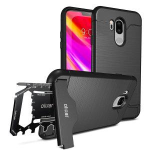 Förbered din LG G7 för stora utomhusäventyr med det robusta Olixar X-Ranger-skalet. Med ett praktisk kickstand och ett säkert fack för det medföljande multifunktionsverktyget - kan du också lagra ditt bankkort om du vill.