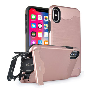 As seen on EverythingApplePro! Prepare your iPhone X for the great outdoors with the rugged X-Ranger case in Rose Gold. With a handy kickstand and a secure compartment for the included multi-tool - or the card of your choice - you'll be ready for anything