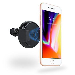 Wirelessly charge your Apple iPhone 8 in-car with this wireless charging vent-mounted car holder. Securely position your iPhone in either portrait or landscape all while enjoying convenient and efficient Qi wireless charging.