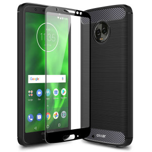 Flexible rugged casing with a premium matte finish non-slip carbon fibre and brushed metal design, the Olixar Sentinel case in black keeps your Motorola Moto G6 protected from 360 degrees with the added bonus of a tempered glass screen protector.