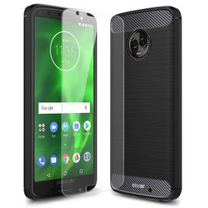 Flexible rugged casing with a premium matte finish non-slip carbon fibre and brushed metal design, the Olixar Sentinel case in black keeps your Motorola Moto G6 Plus protected from 360 degrees with the added bonus of a tempered glass screen protector.
