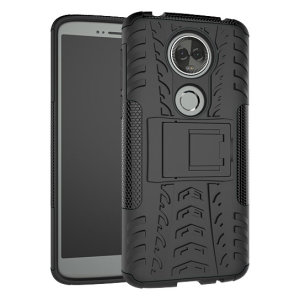 Protect your Motorola Moto E5 Plus from bumps and scrapes with this black ArmourDillo case. Comprised of an inner TPU case and an outer impact-resistant exoskeleton, the Armourdillo offers sturdy and robust protection.