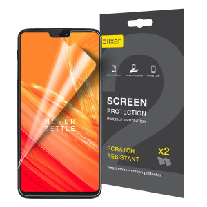 Keep your OnePlus 6 screen in pristine condition with this Olixar scratch-resistant screen protector 2-in-1 pack.