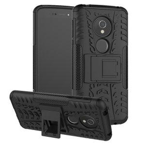 Protégez votre Motorola Moto E5 des chocs et des éraflures grâce à cette coque Olixar ArmourDillo en coloris noir. Cette coque est composée d'un boîtier interne en TPU et d'un exosquelette externe résistant aux impacts. Elle comprend par ailleurs un support de visualisation intégré.
