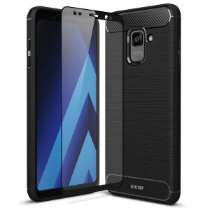 Flexible rugged casing with a premium matte finish non-slip carbon fibre and brushed metal design, the Olixar Sentinel case in black keeps your Samsung Galaxy A8 protected from 360 degrees with the added bonus of a tempered glass screen protector.