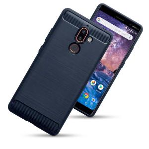 This slim, sleek case for the Nokia 7 Plus in blue sports a smooth, tactile brushed metal and carbon fibre-effect design while also offering superior protection from surface damage.