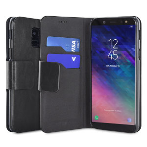 Protect your Samsung Galaxy A6 2018 with this durable and stylish black leather-style wallet case by Olixar. What's more, this case transforms into a handy stand to view media.