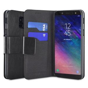 Protégez votre Samsung Galaxy A6 2018 à l'aide de cette superbe housse Olixar portefeuille en simili cuir noir. Robuste et élégante, c'est une judicieuse protection pour préserver au quotidien votre smartphone. Polyvalente, elle peut se transformer en un instant en support de visionnage, vous pourrez ainsi regarder confortablement vos films et autres contenus.