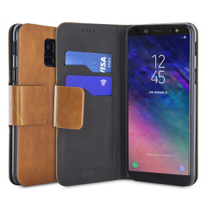 Protect your Samsung Galaxy A6 2018 with this durable and stylish tan leather-style wallet case by Olixar. What's more, this case transforms into a handy stand to view media.