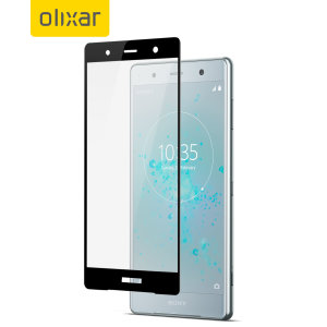 This ultra-thin tempered glass full cover screen protector for the Sony Xperia XZ2 Premium from Olixar with black front offers toughness, high visibility and sensitivity all in one package.