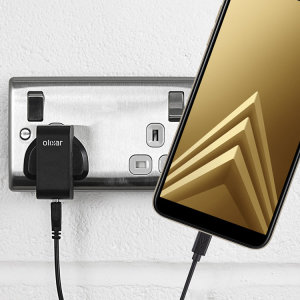 Charge your Samsung Galaxy A6 2018 quickly and conveniently with this compatible 2.5A high power charging kit. Featuring mains adapter and USB cable.
