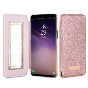 ebfdb49c14e8 Ted Baker Galaxy S8 Hanas Glitter Mirror Folio Case - Rose Gold