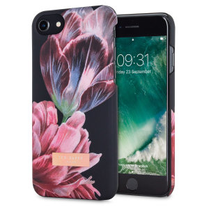 Form-fitting and bulk-free, this Chillie case in Tranquillity Black for iPhone 7 from Ted Baker sports an ethereal, otherworldly floral aesthetic while also offering superlative protection for your device from scratches, scrapes and other surface damage.