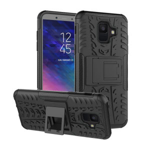 Protect your Samsung Galaxy A6 2018 from bumps and scrapes with this black ArmourDillo case from Olixar. Comprised of an inner TPU case and an outer impact-resistant exoskeleton, with a built-in viewing stand.