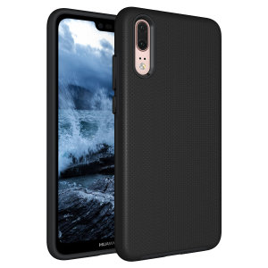 The Eiger North Dual Layer Protective Case in black is a hybrid ergonomic protective case for the Huawei P20, providing fantastic protection without adding excessive bulk.