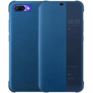 Protect your Huawei Honor 10's screen and keep up to date with the time and notifications thanks to the intuitively designed smart view window on the blue Huawei flip case. Crafted from the finest materials, the case provides a sophisticated feel.