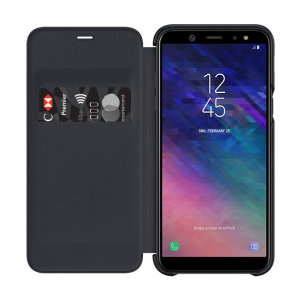 Protect your Samsung Galaxy A6 2018's back, sides and screen from harm while keeping your most vital cards close to hand with the official flip wallet cover in black from Samsung.