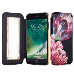 Ever wanted to check how you're looking on the go? With the Ted Baker Antique Mirror Folio case in a Tranquillity Black styling for the iPhone 7, you can do just that thanks to a concealed mirror on the inside of the case's flip cover.