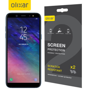 Keep your Samsung Galaxy A6 2018's screen in pristine condition with this Olixar scratch-resistant screen protector 2-in-1 pack.