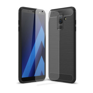 Flexible rugged casing with a premium matte finish non-slip carbon fibre and brushed metal design, the Olixar Sentinel case in black keeps your Samsung Galaxy A6 Plus protected from 360 degrees with the added bonus of a tempered glass screen protector.
