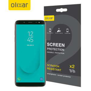 Keep your Samsung Galaxy J6 2018 screen in pristine condition with this Olixar scratch-resistant screen protector 2-in-1 pack.