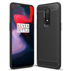 Flexible rugged casing with a premium matte finish non-slip carbon fibre and brushed metal design, the Olixar case in black keeps your OnePlus 6 protected.