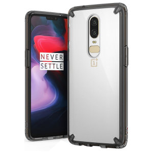 Protect the back and sides of your OnePlus 6 with this incredibly durable and clear / smoke black backed Fusion Case by Ringke.