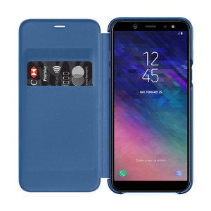 Protect your Samsung Galaxy A6 2018's back, sides and screen from harm while keeping your most vital cards close to hand with the official flip wallet cover in blue from Samsung.