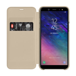 Protect your Samsung Galaxy A6 2018's back, sides and screen from harm while keeping your most vital cards close to hand with the official flip wallet cover in gold from Samsung.