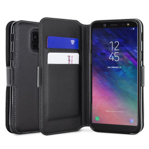 All the benefits of a wallet case but far more streamlined. The Olixar Low Profile Wallet Case in black is the perfect partner for the the Samsung Galaxy A6 2018 owner on the move. What's more, this case transforms into a handy stand to view media.
