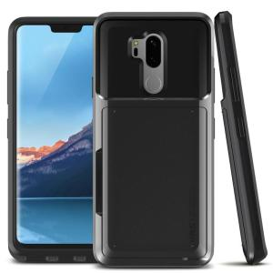 Protect your LG G7 ThinQ with this precisely designed case in metal black from VRS Design. Made with tough yet slim material, this hardshell construction with soft core features patented sliding technology to store two credit cards or ID.