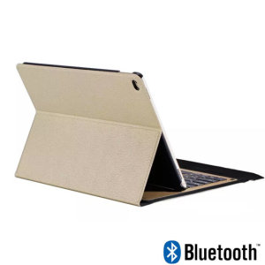 This Bluetooth folio keyboard case by Encase provides your iPad 9.7 2017 with protection against bumps & knocks, while improving your iPad's functionality by adding an ultra thin keyboard. Featuring a gold leather styling to complement the iPad's design.