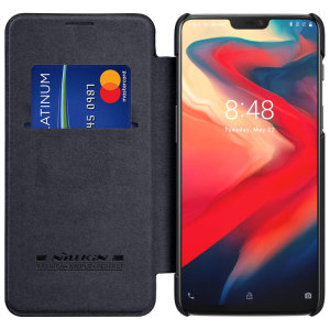 This stylish, black genuine leather case for OnePlus 6 enhances the aesthetic of your already-gorgeous device. A wallet-type structure houses a card slot for a debit or credit card, while the sturdy inner frame holds your phone securely.