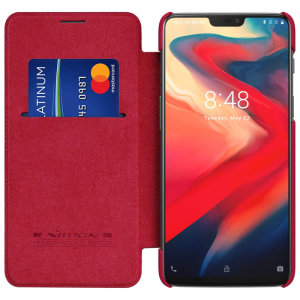 This stylish, red genuine leather case for OnePlus 6 enhances the aesthetic of your already-gorgeous device. A wallet-type structure houses a card slot for a debit or credit card, while the sturdy inner frame holds your phone securely.