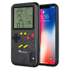 Transform your iPhone X into a classic games console with this Retro Game Case by SuperSpot. Featuring an original Game Boy styled design, this case in carbon black will keep you entertained for hours while offering excellent protection for the iPhone X.