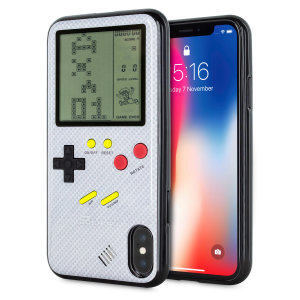 Transform your iPhone X into a classic games console with this Retro Game Case by SuperSpot. Featuring an original Game Boy styled design, this case in carbon white will keep you entertained for hours while offering excellent protection for the iPhone X.