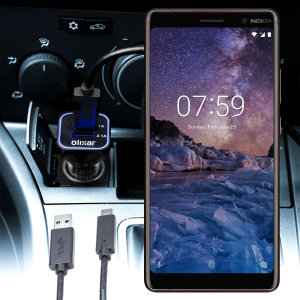 Keep your Nokia 7 Plus fully charged on the road with this compatible Olixar high power dual USB 3.1A Car Charger with an included high quality USB to USB-C charging cable.